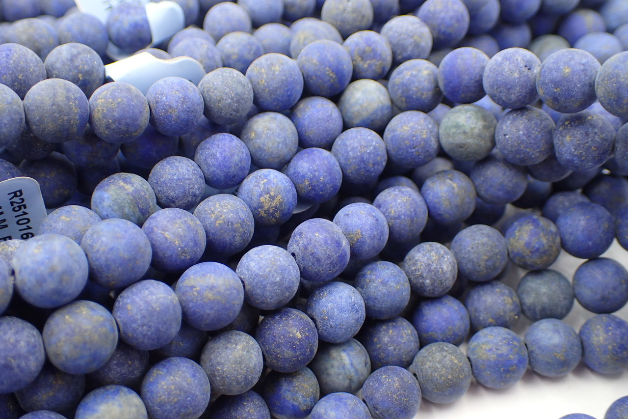 8mm Frosted Lapis Round Beads
