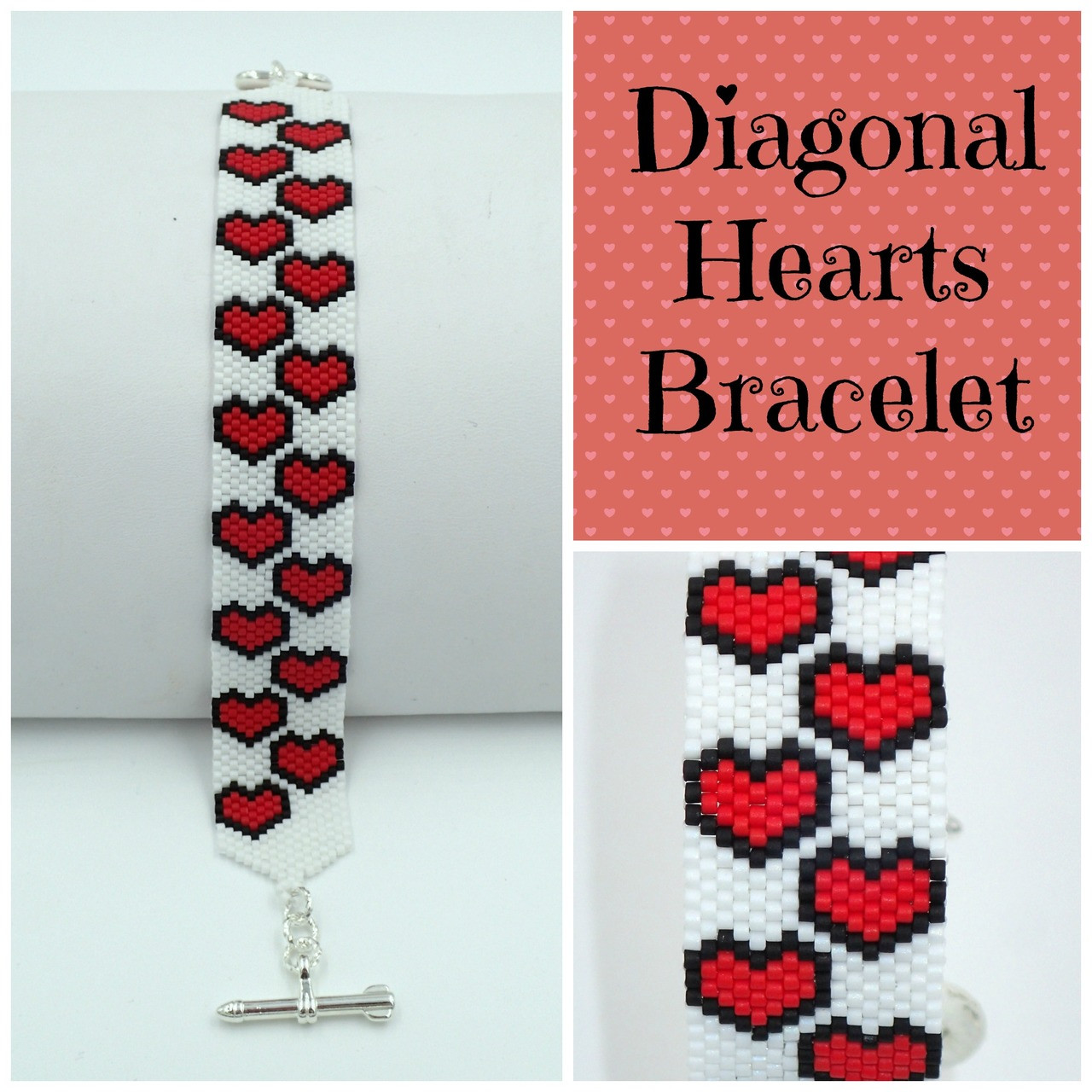 Diagonal Hearts Bracelet PRINTED Pattern - Mailed to your home