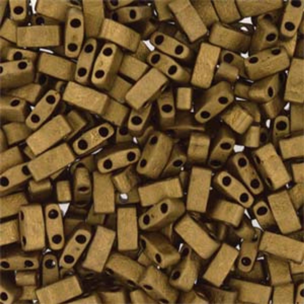Matte Metallic Dk Bronze Half Tila Beads (2 Hole)