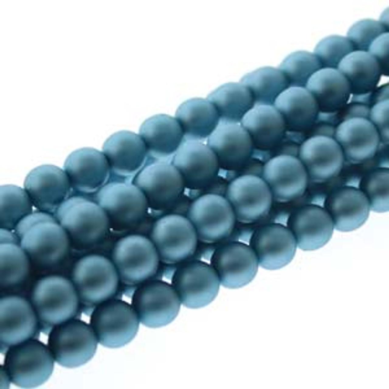 6mm Matte Cerulean Glass Pearls - 75 Beads