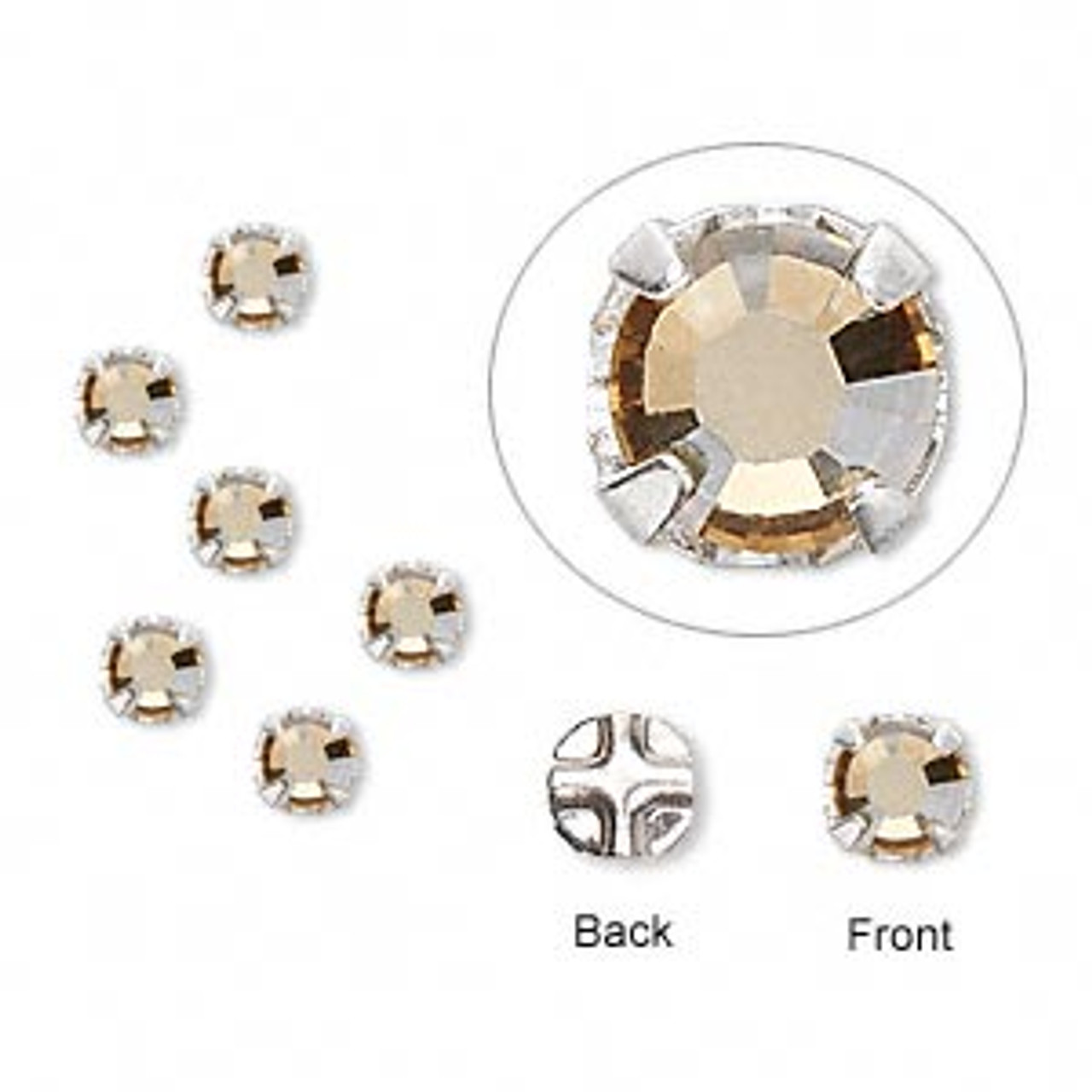 6mm Golden Shadow Swarovski Montee (6pk)