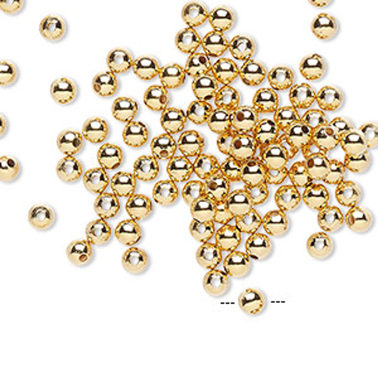 3mm Gold Plated Metal Round (50 Pack)