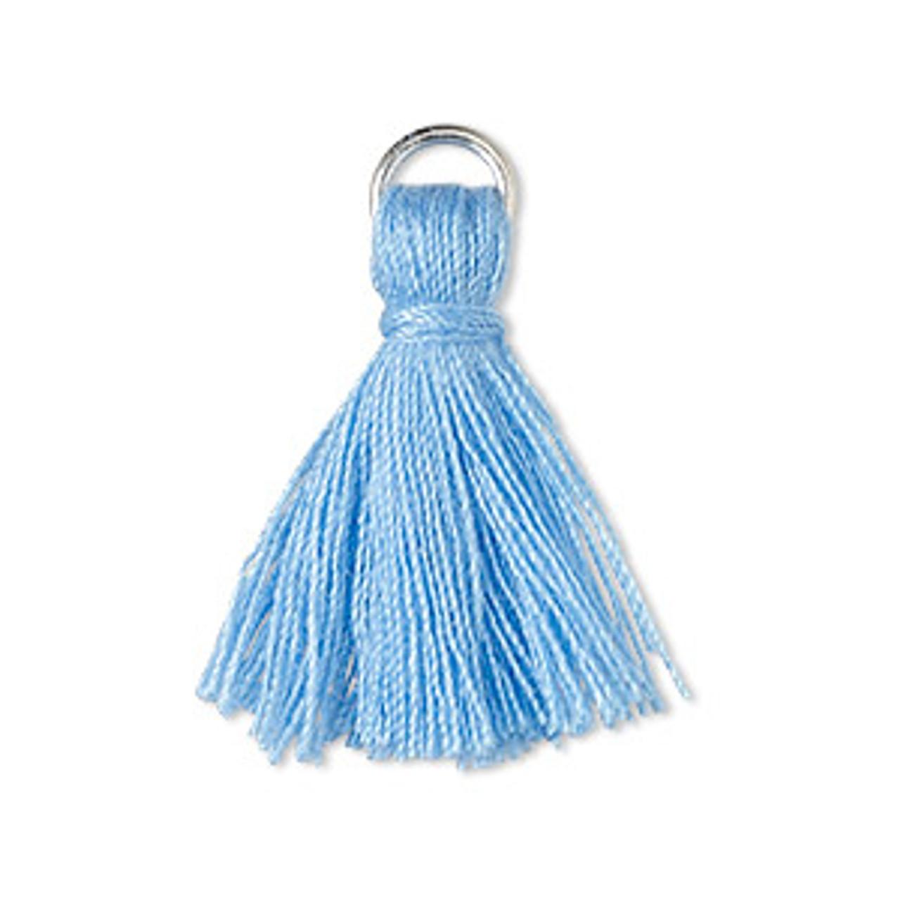 2pk 20-24mm Light Blue Mini Tassel with 6mm Ring