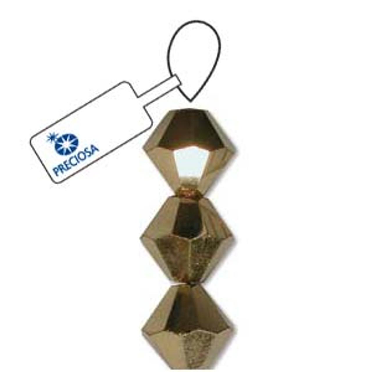 3mm Crystal Aurium Half  Preciosa Bicone (42pc)