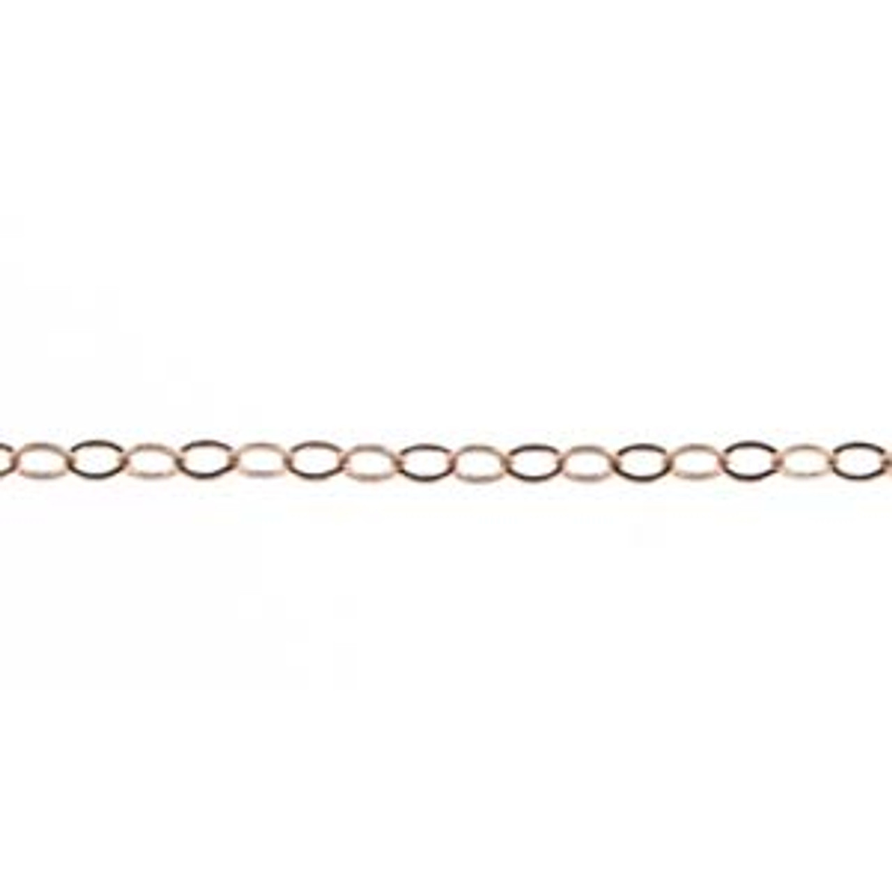 Rose Gold Plated Filled 1.4mm Flat Open Chain - Per Foot