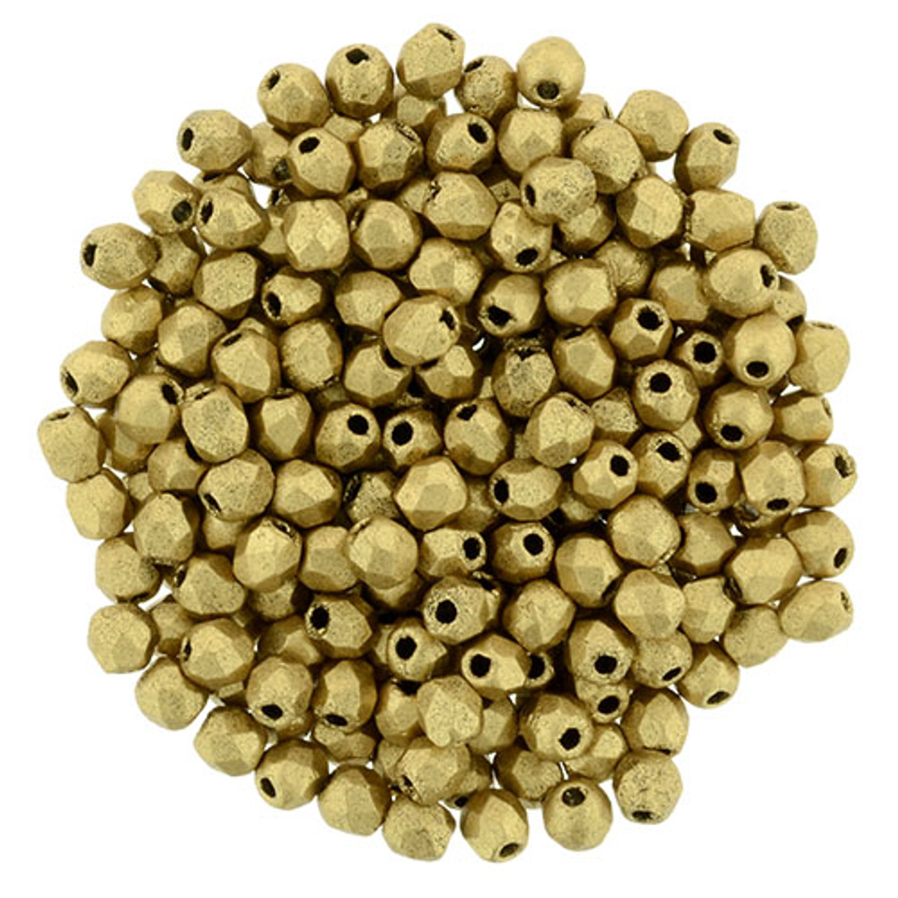 2mm Metallic Flax Fire Polish Beads - 50pk