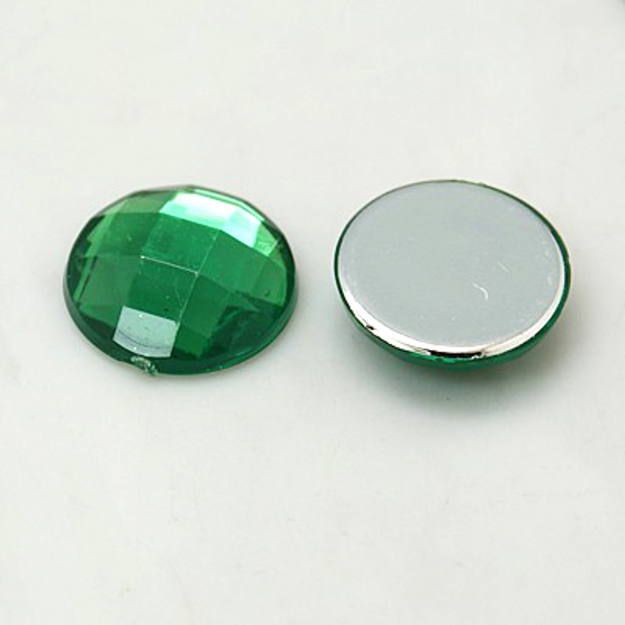 Imitation Taiwan Acrylic Rhinestone Cabochons, Faceted, Half Round/Dome, Green, 18x5mm (6pk)