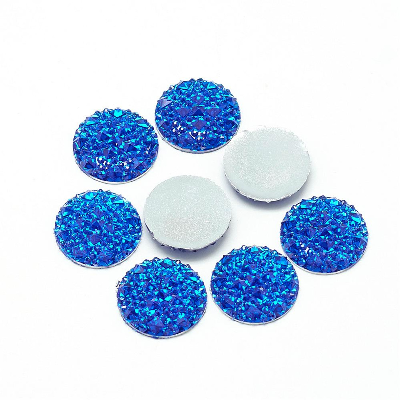 Resin Cabochons, Buttom Silver Plated, Half Round/Dome, Blue, 18x3.5mm (6pk)