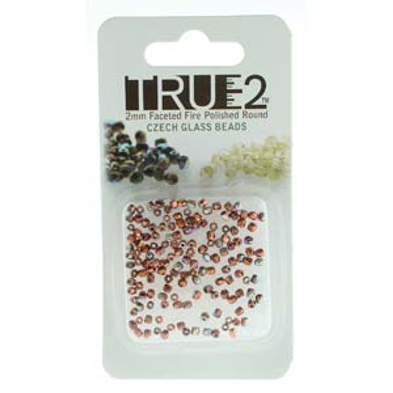 Copper Plated AB True 2mm Fire Polish Beads - Approx 2 Grams