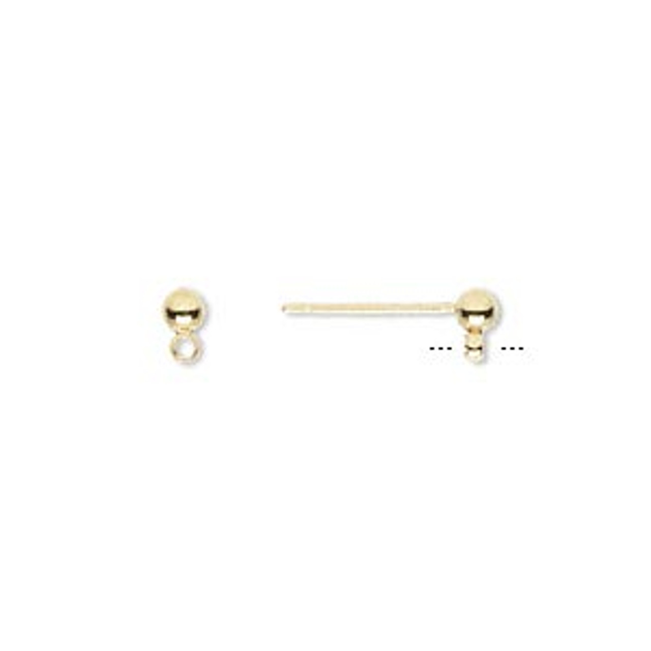 3mm Gold Plated Ball Post Earrings (4 Pairs)