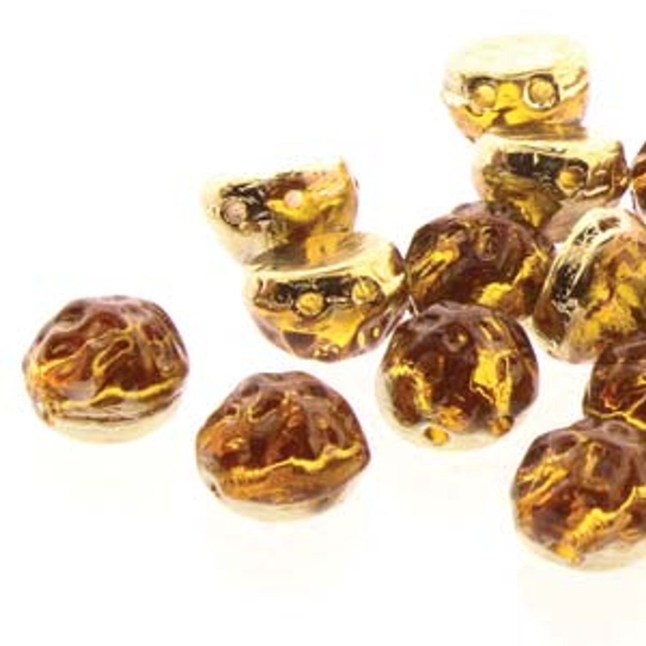 7mm Backlit Amber/Topaz Two Hole Cabochon (20pk)