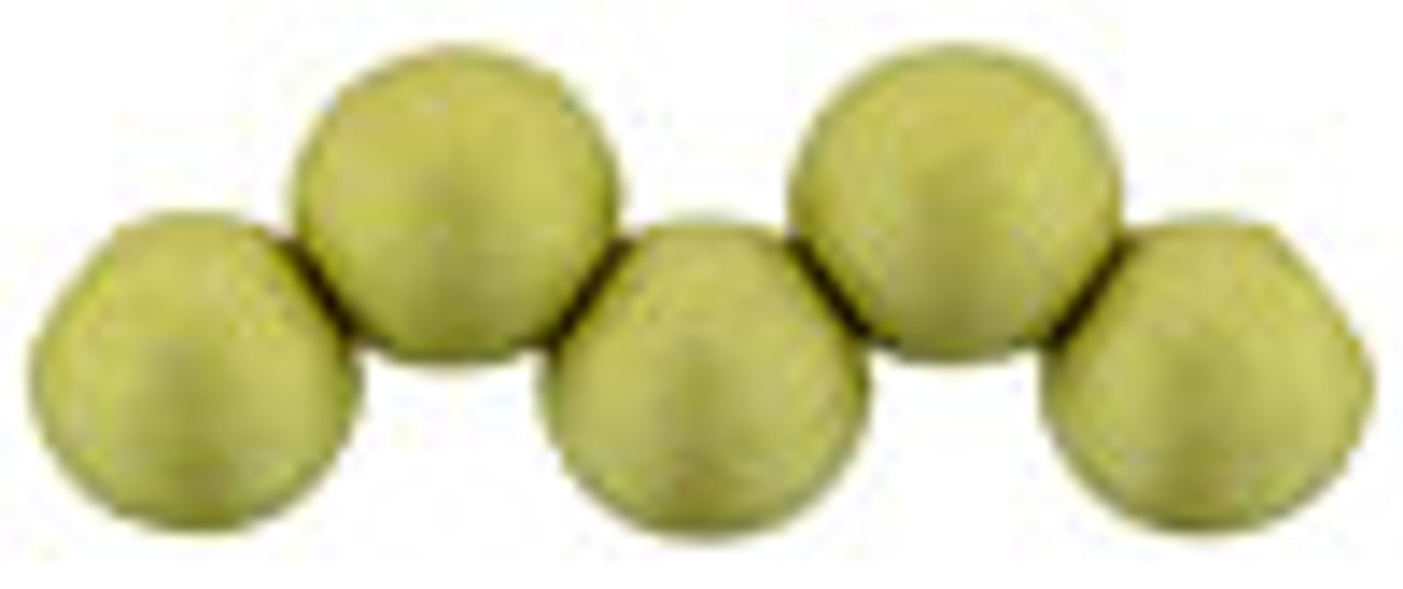 6mm Top Drilled Rounds - Satin Metallic Chartreuse - 25pc