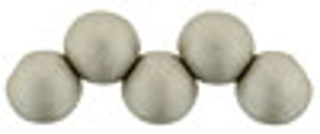 6mm Top Drilled Rounds - Satin Metallic Sand - 25pc