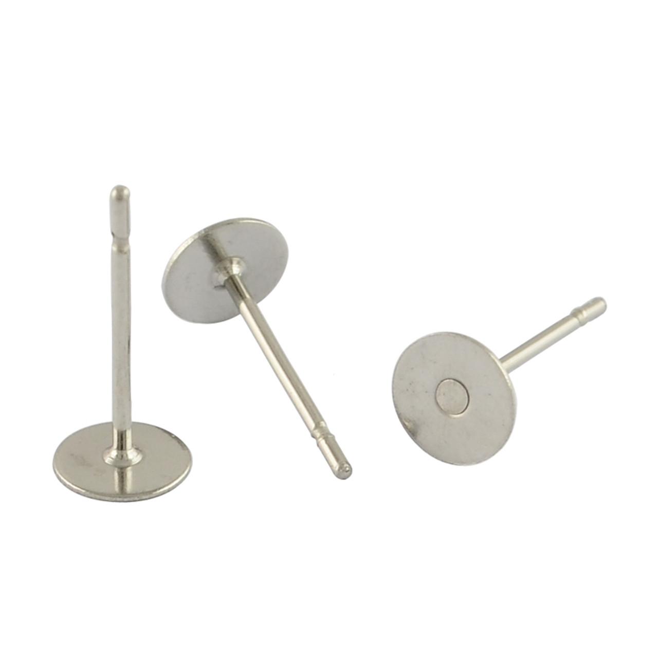 4mm Stainless Steel Flat Post Earrings (4 Pairs)