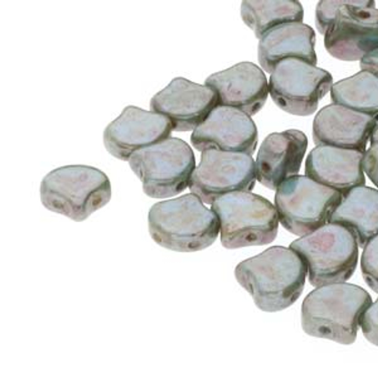 7.5x7.5mm Chalk Lazure Blue Two Hole Ginko Beads (8 Grams) Approx 30-35 Beads