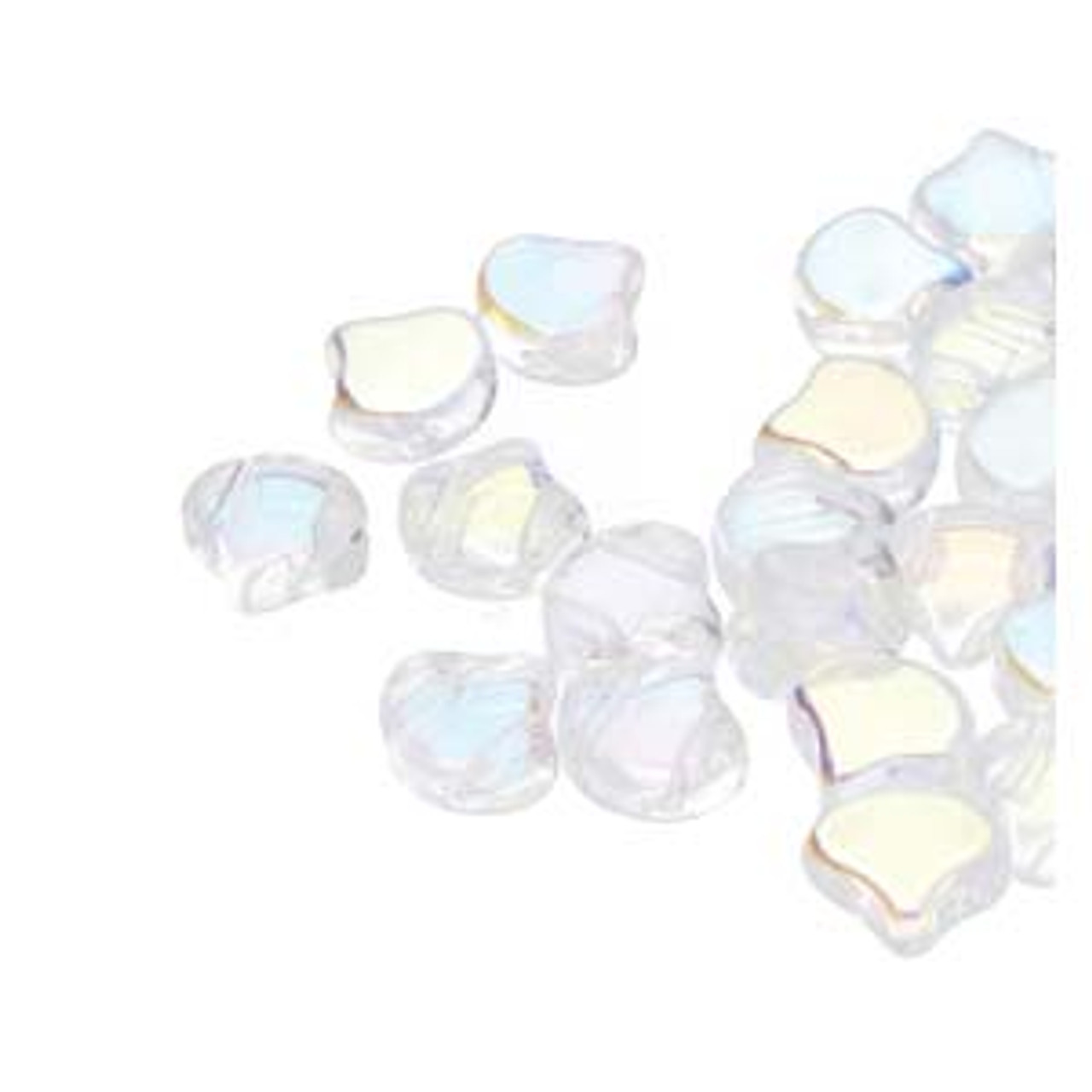 7.5x7.5mm Crystal AB Two Hole Ginko Beads (8 Grams) Approx 30-35 Beads