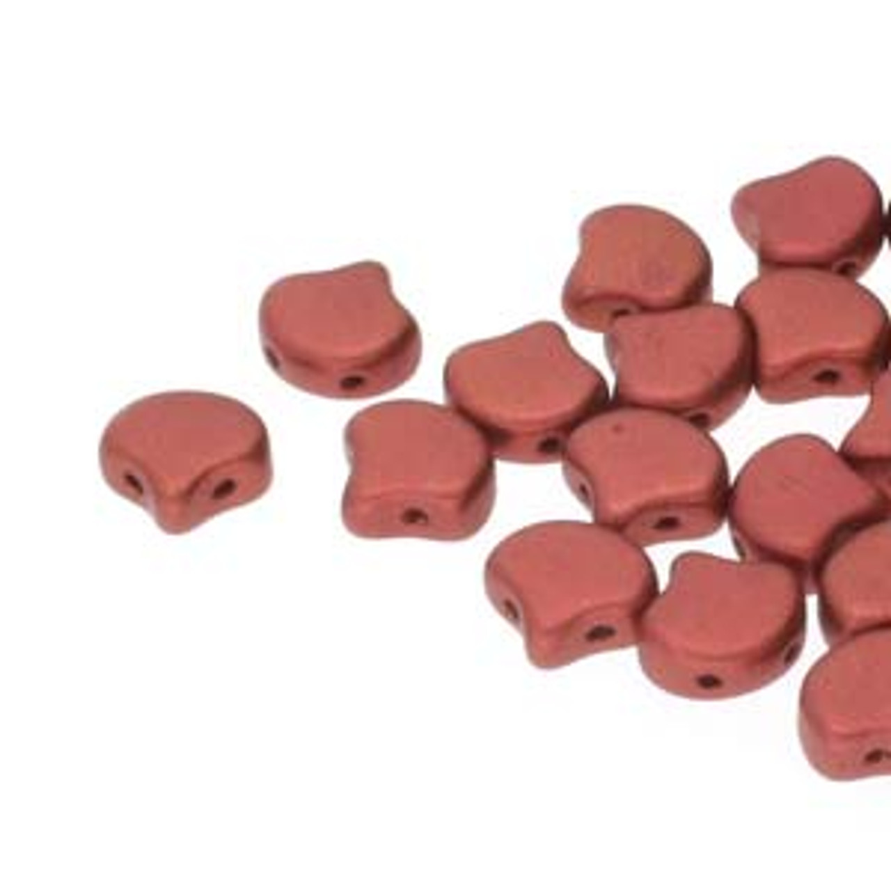 7.5x7.5mm Bronze Fire Red Two Hole Ginko Beads (8 Grams) Approx 30-35 Beads