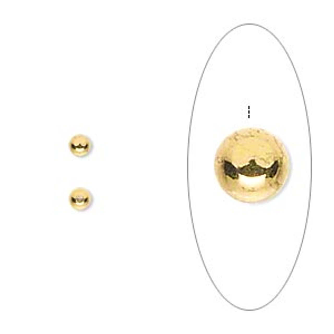 12pk Bead end, gold-plated brass, 3mm half-drilled round, for use with memory wire