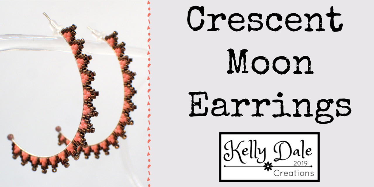 Crescent Moon Earring Instant Download PDF Pattern
