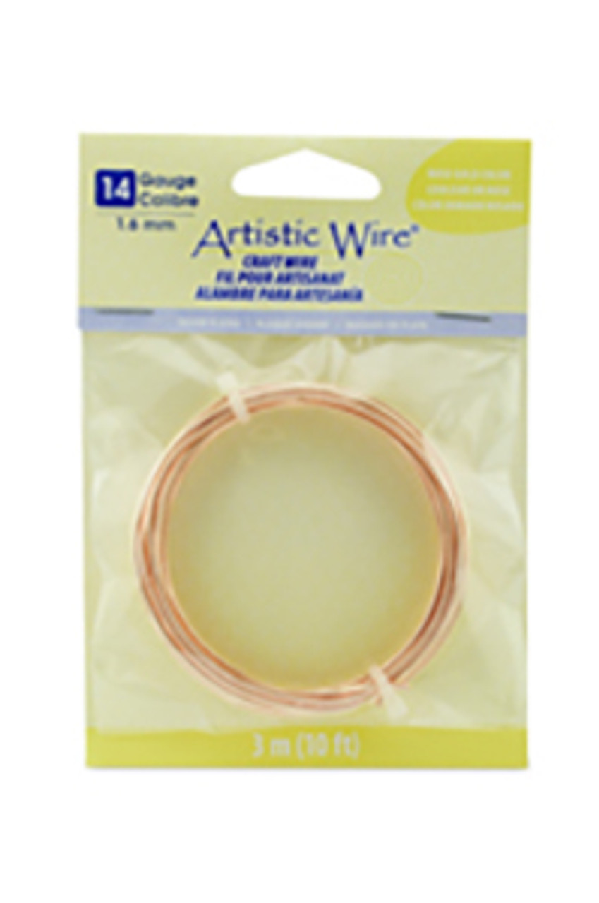 Artistic Wire, 14 Gauge (1.6 mm), Rose Gold Plated, Tarnish Resistant Silver, 10 ft (3.1 m)