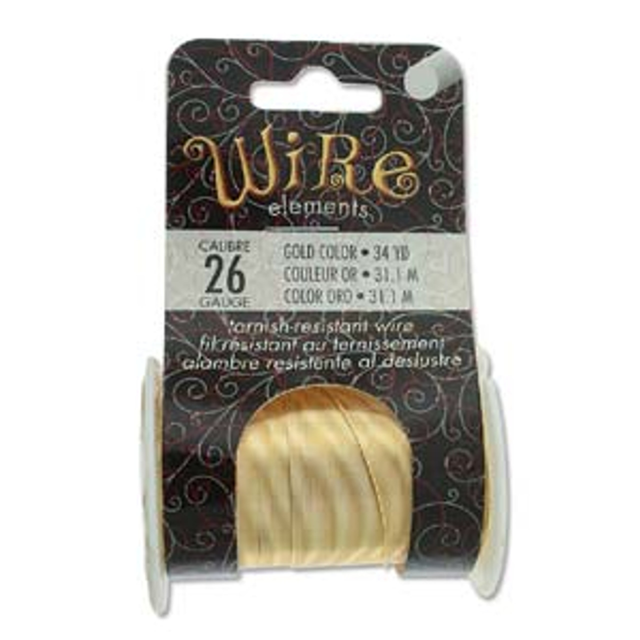 26ga Tarnish Resistant Wire Elements- Gold - 34yds