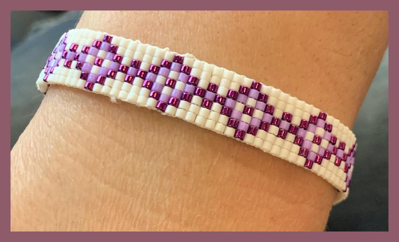 Purple Diamonds Loom Bracelet PDF INSTANT DOWNLOAD Pattern