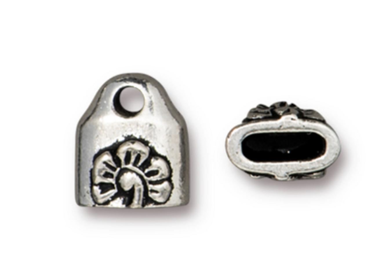Blossom Crimp End Caps (2pk) Antique Silver