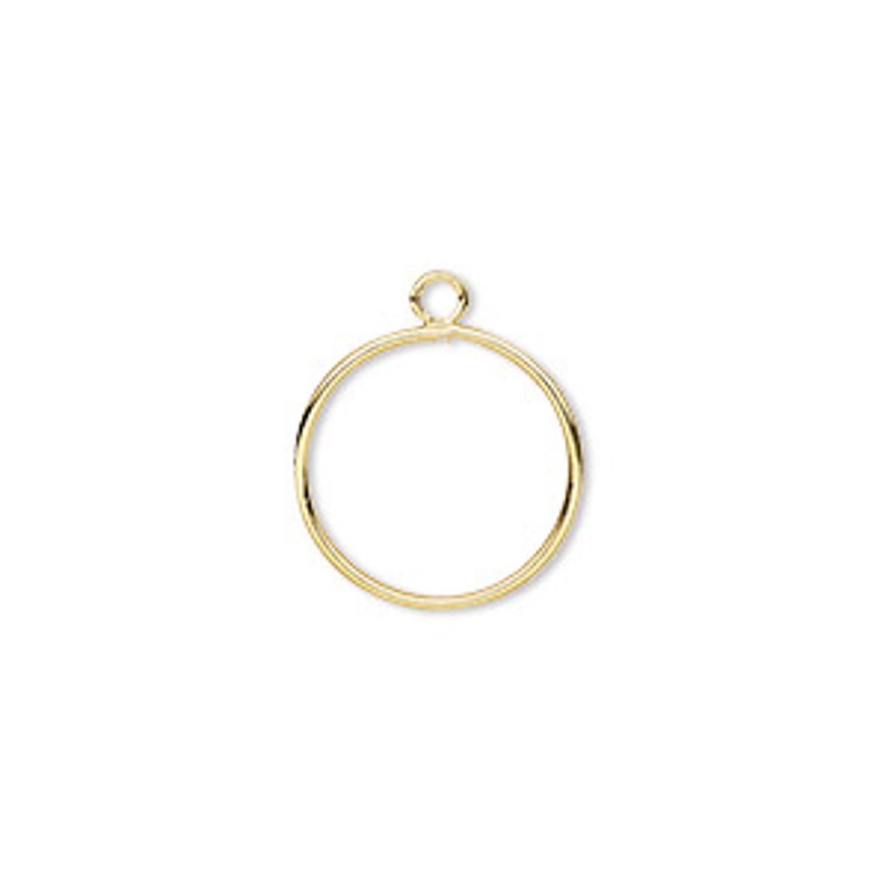 Drop, gold-plated brass, 12mm open round (2pk)