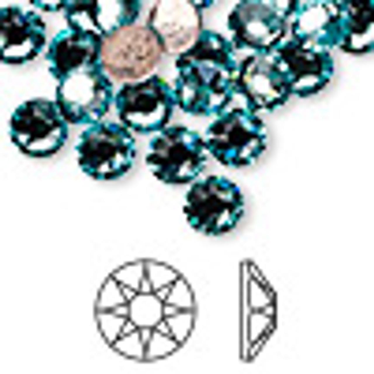 6pk SS34 Light Turquoise Flat Back Crystal (2088)