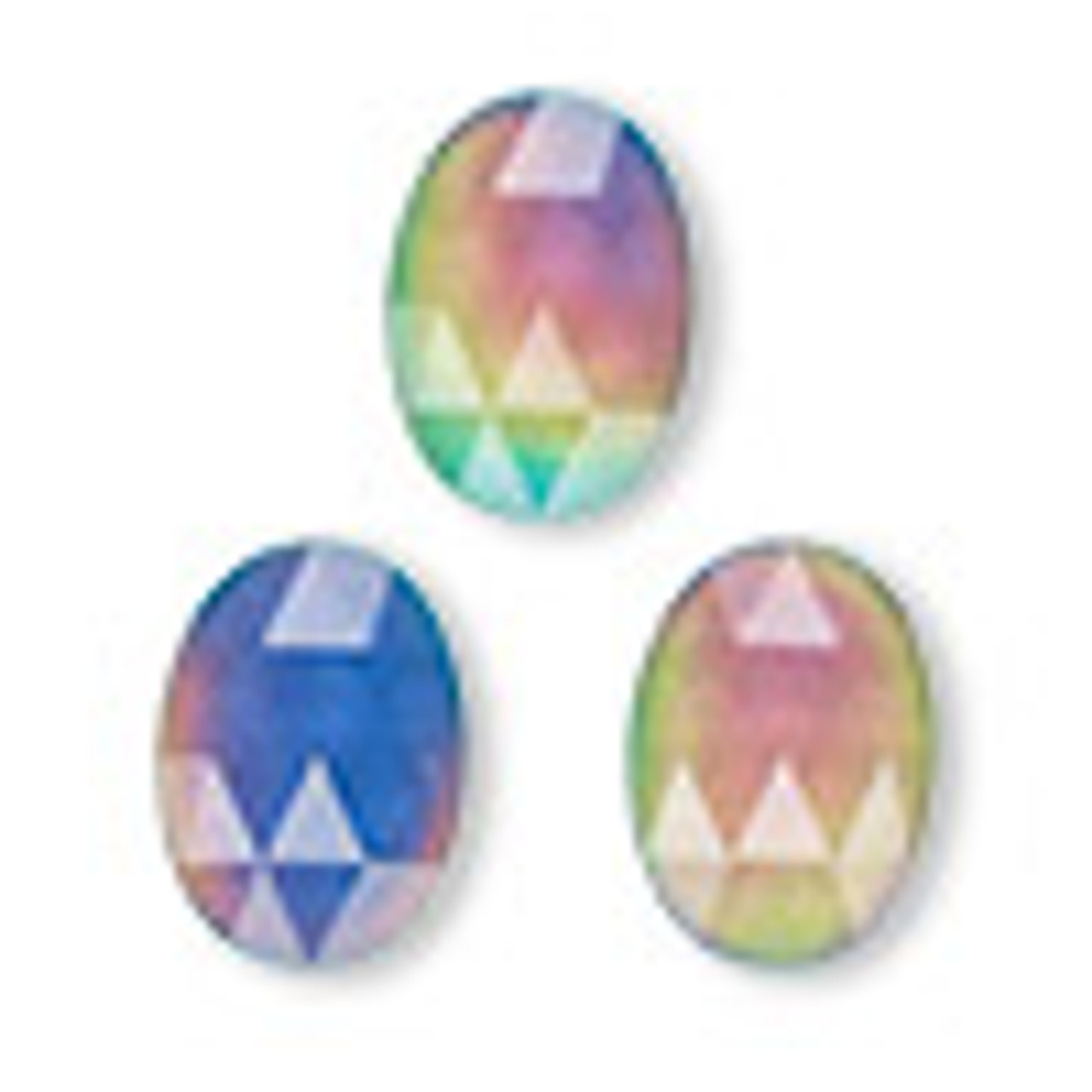 Cabochon, acrylic, multicolored, 18x13mm color-changing non-calibrated faceted oval (1 Piece)