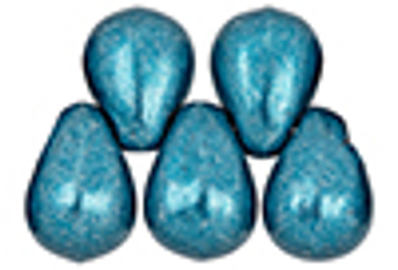 6x4mm Saturated Metallic Quatzal Green Tear Drops (98-100 Beads)