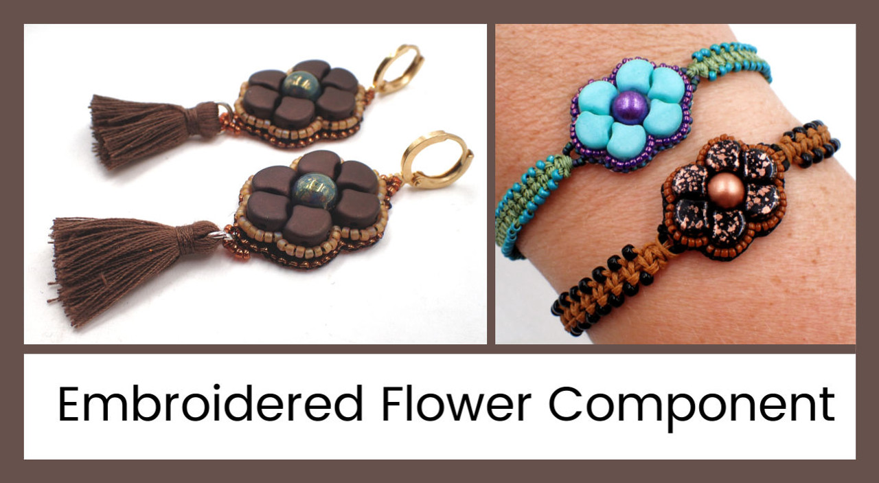 Embroidered Flower Component PDF Instant Download Pattern