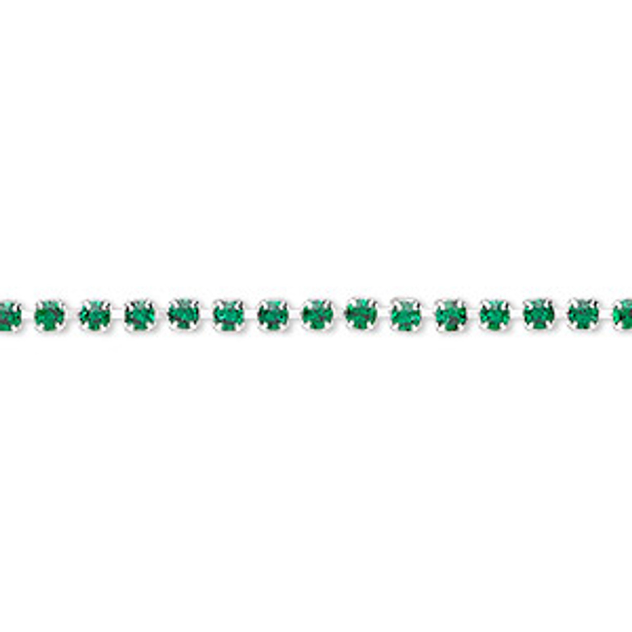 Cupchain, glass rhinestone and silver-plated brass, Emerald Green, 2mm round (SOLD PER FOOT)