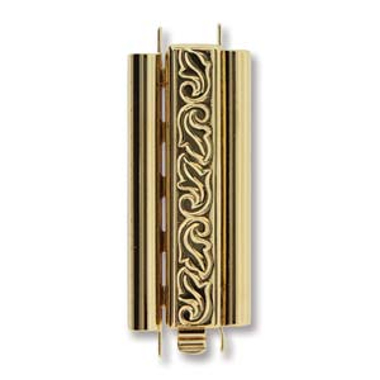 10x29mm Beadslide Swirl Brigh Gold Plated (1 Clasp)