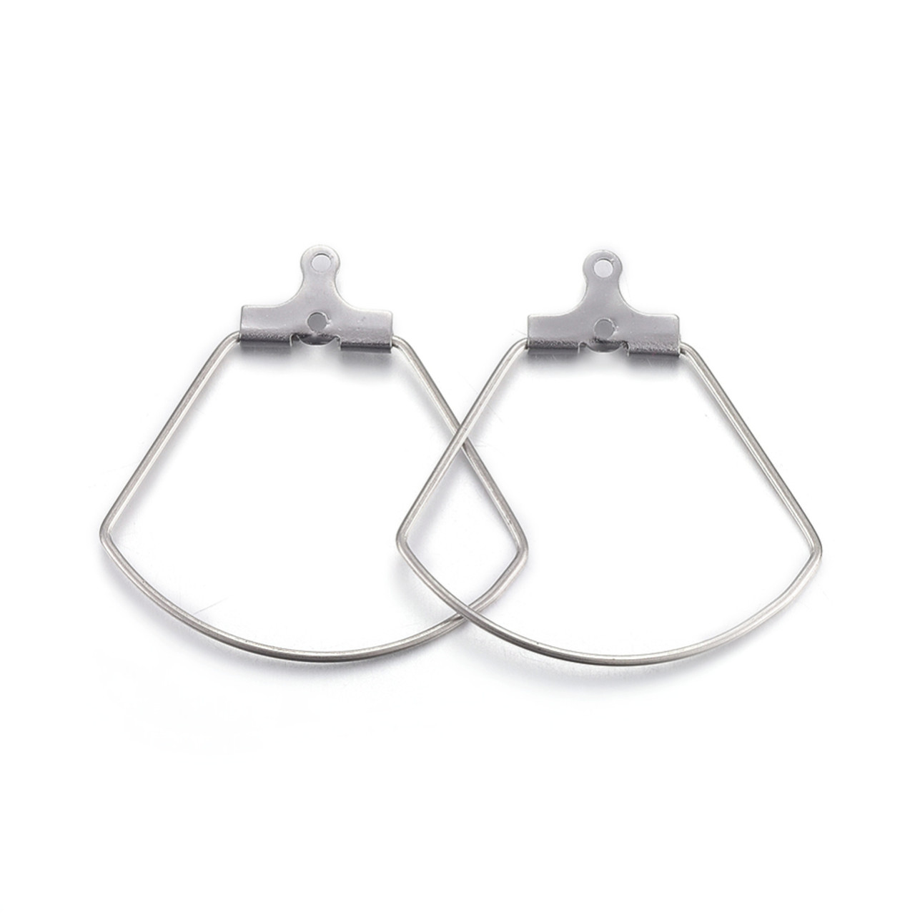 Hoop Earring Findings, Sector, Stainless Steel Color, 27x27x1.8mm, Hole: 1mm; Inner Size: 20x25.5mm; Pin: 0.7mm (1 Pair)