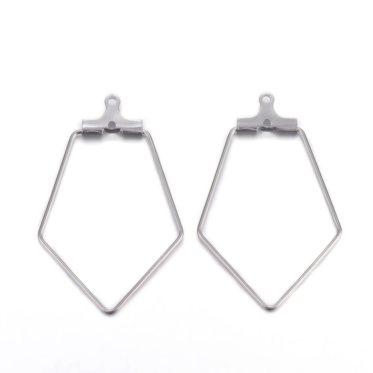 Hoop Earring Findings, Rhombus, Stainless Steel Color, 35x22x1.8mm, Hole: 1mm; Inner Size: 28x21mm; Pin: 0.7mm (1 Pair)