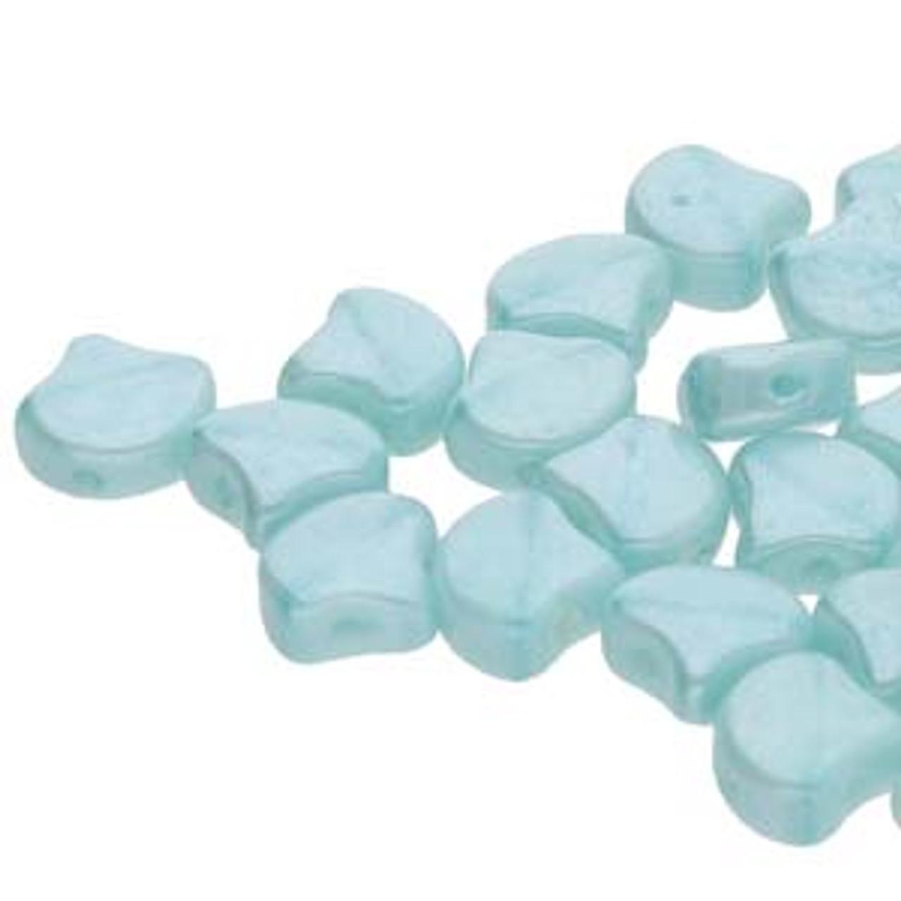7.5x7.5mm Silk Blue OPal White Luster Ginko Beads (8 Grams)