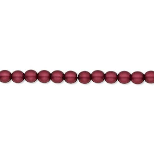 4mm Matte Sangria Druk Rounds (15 1/2 inch strand)