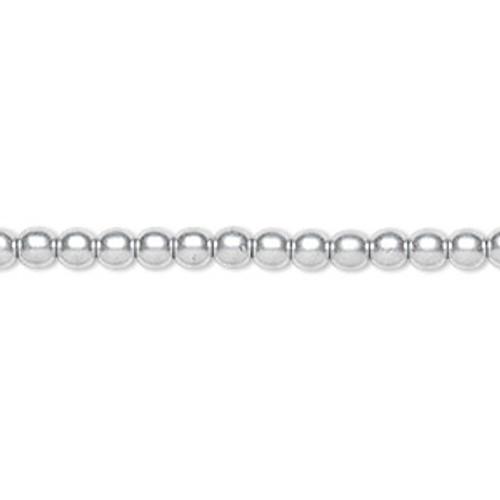 4mm Silver Druk Rounds (15 1/2 inch strand)