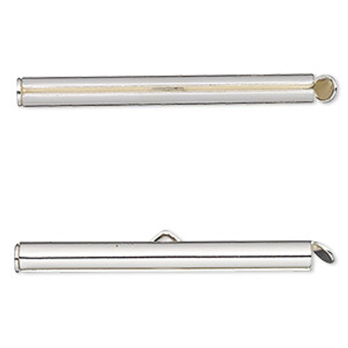 40x4mm Silver Plated Slide End Bar Findings (2pk)