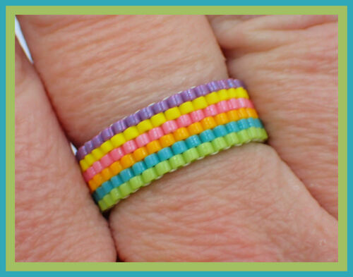 Lucky Rainbow Even Count Peyote Ring INSTANT DOWNLOAD PATTERN