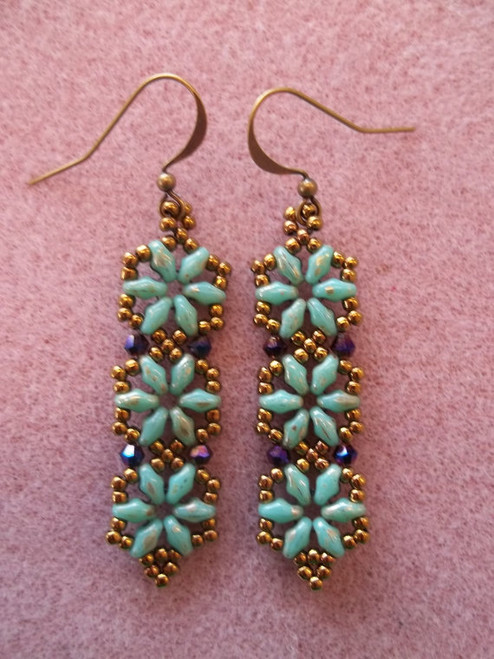 Hexagon Duo Earrings PRINTED Pattern - Mailed to your home