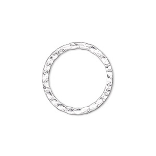 2pk 20mm Double Sided Hammered Open Silver Plated Solid Ring