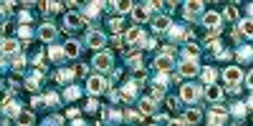 8/0 Gold Lined Rainbow Aqua Toho Seed Beads (20 Grams) 08-995