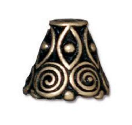 Antique Gold Spiral Bead Cone (2pk) TierraCast