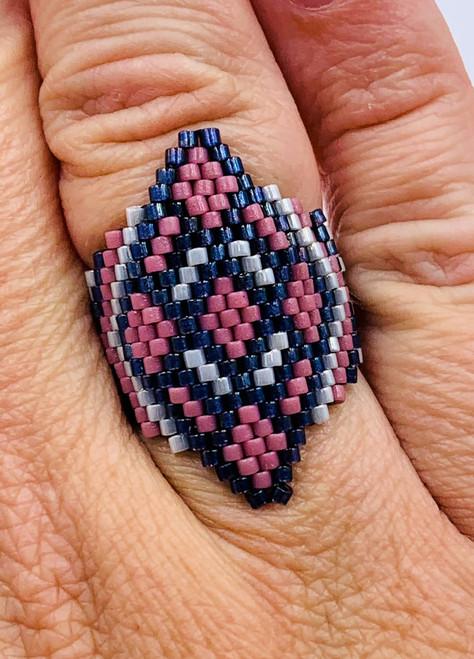 Large Diamond Ring Brick/Peyote Ring PRINTED PATTERN & Video Access