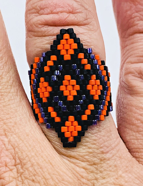 Large Diamond Ring Brick/Peyote Ring INSTANT DOWNLOAD & Video Access