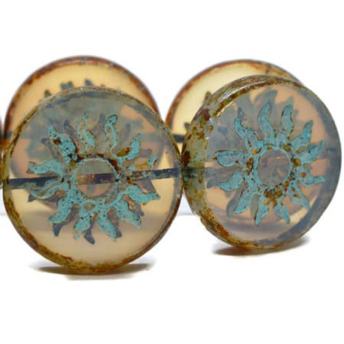 22mm Sun Coin Milky Beige with Turquoise Wash - Sold Per Bead