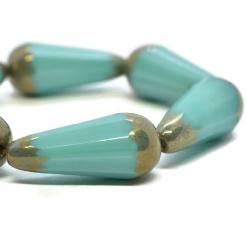 20x9mm Faceted Dangle Teal Blue with Bronze Finish - SOLD PER BEAD