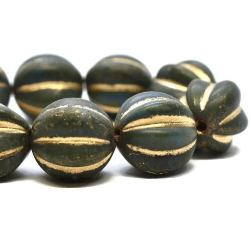 10mm Dark Army Green with Gold Wash Melon Beads(15 Beads)